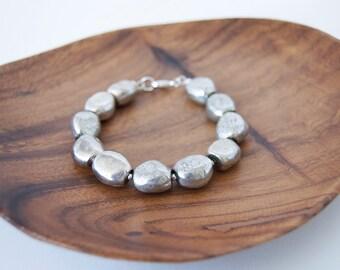 Large Silver Stone Bracelet