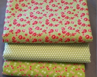 Little Ruby Half Yard Bundle of 3 in Green by Bonnie and Camille