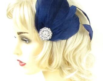 Navy Blue Silver Diamante Feather Fascinator Hair Clip Races Vtg Rhinestone 563