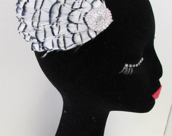 White Black Silver Amherst Pheasant Feather Fascinator Races Hair Clip Ivory A83