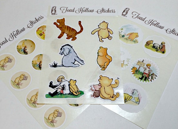 Stickers Winnie the Pooh, Sticker, Classic Pooh Envelope Seals,Planner Stickers,Pooh Stickers,Birthday Party, Label, Gift Wrap, Pooh Sticker