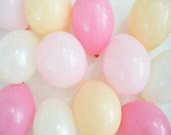 "5"" Mini Balloons - Pink Sorbet // 12 Pack // Wedding & Birthday Decor // Small, Tiny Latex // Blush Pink Nude Peach Champagne //"