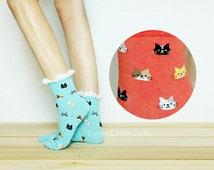 Cat Lace Socks, Ankle Socks, Socks, Lace Boot Socks, Leg Warmer, Cat Lace Sock, womens socks, sneaker socks