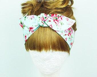 Turquoise Floral headband, Hair Wrap, Roses headband, Hair Accessories, Womens headband, Twist turban, knot headband