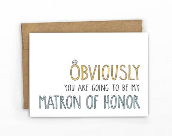 Will You Be My Matron of Honor Card | Obviously BLUE by Cypress Card Co.