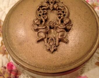 Vintage 1940's Vanity Powder, Dresser, Trinket Jar With Cherubs