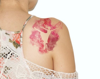 Temporary Tattoo Ballerina - Dance, For Her, Pink, Watercolor Tattoo, Ballet - NO. A07