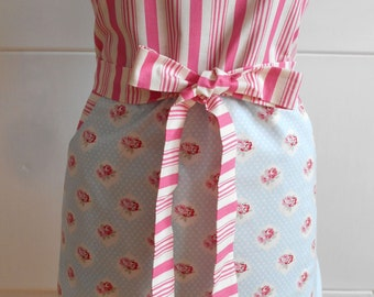 Apron roses. Beautiful Handmade full apron dress for kitchen, Womens Apron