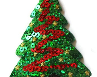 Your Choice of CHRISTMAS Embroidered Applique SEQUINS Patch Set~ Trees, Wreath, Present