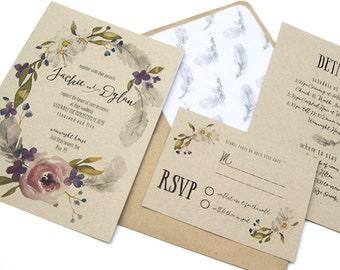 Boho Wedding Invitation, Wedding Invitation Boho, Bohemian Wedding Invitation, Kraft Wedding Invitations, Wedding Invitation Set, Gypsy Wed