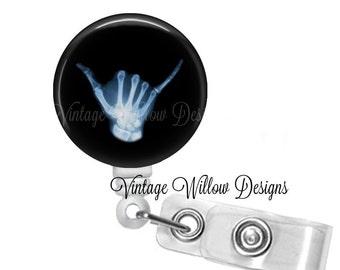 Hang Loose Radiology Themed Retractable ID Badge Reel