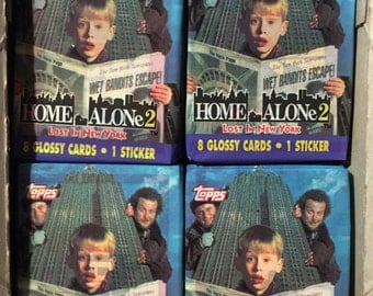4 vintage 1992 Topps Home Alone 2 wax packs movie trading cards stickers