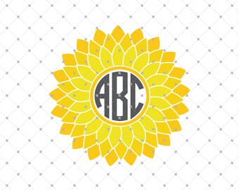 Sunflower Monogram Frame SVG Cut Files, Sunflower SVG Cut Files for Cricut, Silhouette and other Vinyl Cutters, svg files
