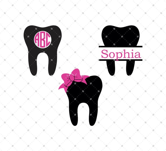 dentist tooth svg cut files tooth monogram frames cut files