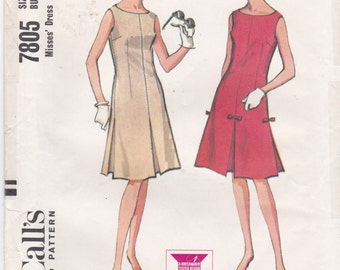Vintage Sewing Pattern 1960's Sleeveless Dress Inverted Pleat Dress Semi-Fitted Dress Vintage McCall's Sewing Pattern 7805 Bust 32