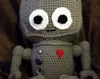 Crochet robot stuffed animal
