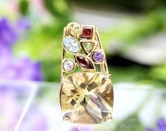 Multi-color Gemstone Silver Pendant