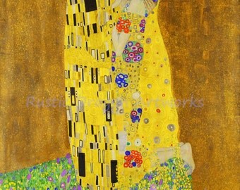 "Gustav Klimt  ""The Kiss""  1908 Reproduction Digital Print Art Nouveau Man Kissing Woman  Wall Hanging"