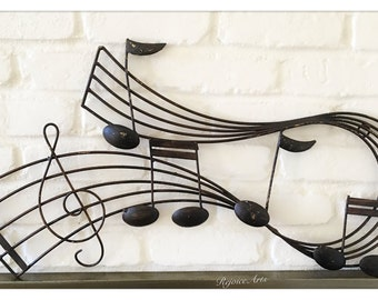 Brass Metal Sheet Music Notes Wall Hanging Ornament