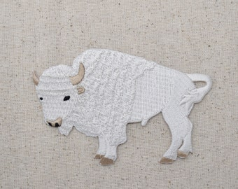 White Buffalo - American Bison - Iron on Applique - Embroidered Patch - WA57
