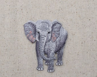 Gray Elephant - Full Body - African - Embroidered Patch - Iron on Applique - 1516650A
