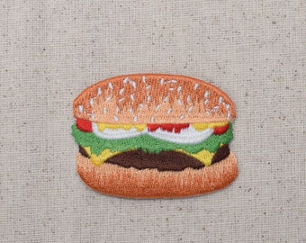 Hamburger - Cheeseburger - Condiments - Sesame Seed Bun - Picnic Food - Iron on Applique - Embroidered Patch - 695480A