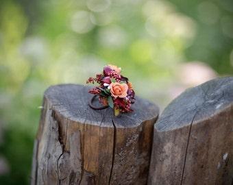 Flower hair tie autumn orange red rosehip floral accessories