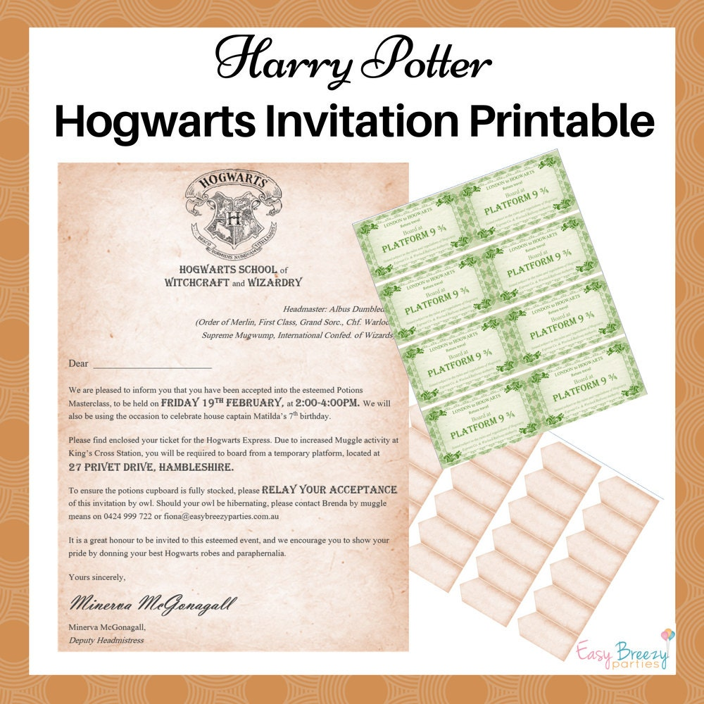 Tactueux image with regard to printable harry potter invitations