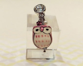 Owl Cell Phone Charm, Handmade Cell Phone Dust Plug, Cell Phone Charm