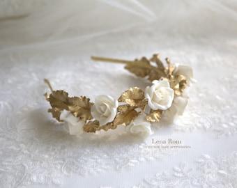 Bridal headpiece. Floral crown. Bridal crown. Roses headpiece. Floral wreath. Wedding headpiece. Style 627