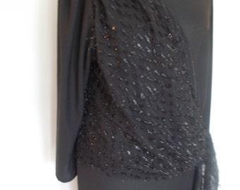 Vintage dress 80s Black evening dress with sparkly sash size large