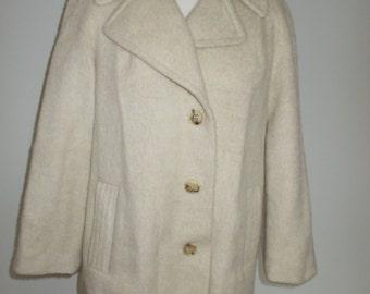 Vintage coat jacket Cream reefer Coat Pure Wool mix 60s by Maramode Size large UK 14 16