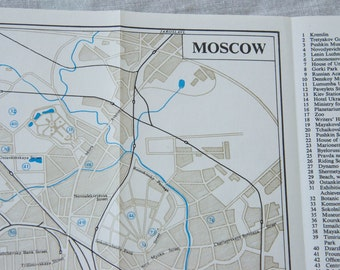 1970 Moscow Russia Vintage Map