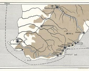 1970 Crimea, Crimean Peninsula Vintage Map
