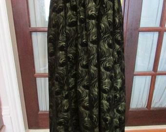 Vintage black & gold swirl velveteen/velvet midi skirt