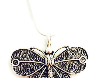Butterfly Necklace- Silvertone Butterfly Necklace- Chain is Silver Plate, Choose Your Chain Length