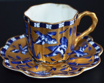 Antique COALPORT Demitasse Cup Saucer Enamel Hand Painted Gold ASIAN Oriental Themed Blue Bird Teacup Miniature English Porcelain Aesthetic