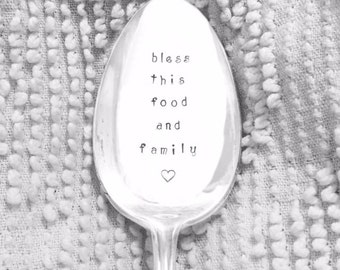 hand stamped serving spoon - Bless this food and family