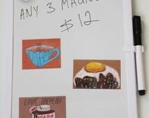 cute kitchen magnets set/ mix and match magnet set/  funny kitchen magnets/ art fridge magnets/ coffee fridge magnet/ bright color magnets