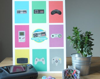 Games Consoles 'Retro Gaming' Inspired Fan Art Print **CLEARANCE - 50% OFF**