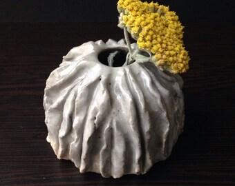 """Light Gray """"Flowered"""" Flower Bud Vase"""