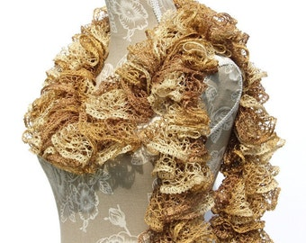 Gold Crochet Scarf, Sashay Scarf, Crochet Scarf, Handmade Scarf, Ruffle Scarf, Scarf, Crochet Ruffle Scarf, Ready to ship, Gifts for Her