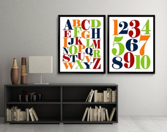 Alphabet letters, Alphabet letters for nursery, Alphabet letters wall, Alphabet art, Alphabet print, Alphabey poster, Numbers wall art