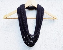 Black Infinity Scarf Necklace Textile Fabric Statement Necklace Long Multistrands Necklace Loop Necklace Womans Multistrand Braided necklace