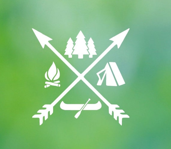 Camping Icon  Camp Arrow Nature Vinyl Decal - Car Decal - Car Sticker - Laptop Decal - Laptop Sticker