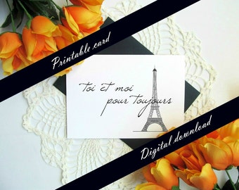 French Valentine's Day Card - You and Me Forever Eiffel Tower Printable Card