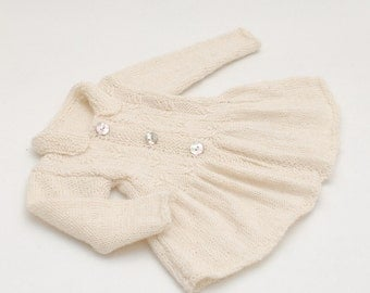 Baby Alpaca Cable Knit Jacket Coat for a girl - Hand knit Baby Girl Jacket Coat Sweater - Natural organic white baby alpaca