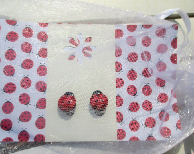 Ladybug earrings-clip on earrings-girls dress up jewelry-bug studs-little girls-cute gifts for kids-childrens party favor-kids birthday gift