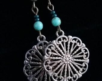Disc Earrings - Vintage Style Earrings - Beaded Earrings - Victorian Earrings - Czech Glass Earrings - Turquoise Earrings - Part Upcycled