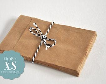 20 paper bags Brown XS - 6.5 x 11 cm